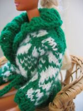 "Hand Knit Green White Norwegian Sweater Doll Clothes fit 11.5"" as Barbie"