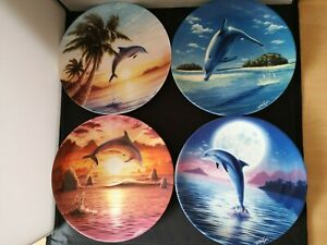 """T206-DANBURY MINT """"DAY OF THE DOLPHIN"""" SERIES SET OF FOUR COALPORT CHINA PLATES"""