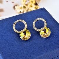 925 Sterling Silver Round Hoop Genuine Elements Crystal Drop Stud Earrings Gift