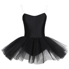 Women Black Ballet Dress Ballerina Swan Costume Leotard Tutu Skirt Dance wear