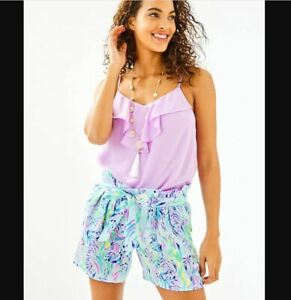 "Lilly Pulitzer NEW Womens Size 12 Blue 5"" Kaylene Beach Summer Shorts 002962"