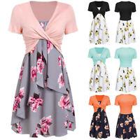 Women Short Sleeve Front Criss Cross Top + Floral Print Mini Dress Suits HY