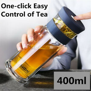 300/400ml Portable Glass Water Bottle Double Wall Tea Cup Office Travel Mugs New