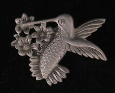 Pewter Hummingbird Eating Nectar From Flowers Brooch