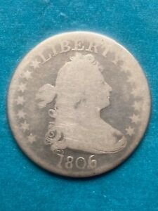 1806  Draped Bust Quarter 6 Over 5  Error , MEGA RARE  VG +