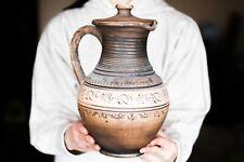 Rustic ceramic Jug Redware Pitcher Handmade Jar Unglazed pitcher Art pottery