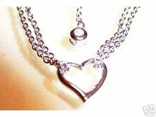 "925 STERLING SILVER OPEN HEART ANKLET W CZ   9.25"" LONG"