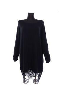 Women's SIMONA BARBIERI TWIN SET Black Cashmere Wool Lace Tunic Dress Size XL