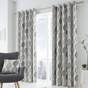 Lennox Eyelet Lined Curtains Grey