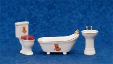 AZTEC MINIATURE DOLLHOUSE 1:12 SCALE BEAR BATHROOM SET OF 3
