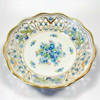 "BEAUTIFUL ANTIQUE SCHUMANN BAVARIA FORGET ME NOT 5"" ROUND PIERCED BOWL GERMANY"
