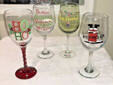CHRISTMAS WINE GLASSES MIXED LOT OF 4 LARGE EMBELLISHED NO NEED FOR WINE CHARMS