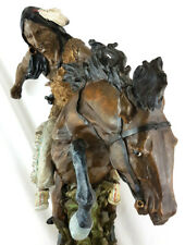 """Native American Indian warrior RearIng horse Statue H 57cm (22½"""")"""