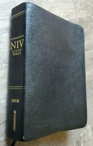 NIV Study Bible New International Version Red Letter Black Bonded Leather