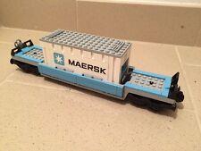 treno 10219 - carro merci maersk con container (train) lego compatibile