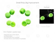 GREEN Joystick Caps (8pc) PS4 Controller 100% Silicone Extender XBOX 360 thumb