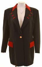 ESCADA Womens 1 Button Blazer Jacket IT 44 Medium Black Wool  IT07