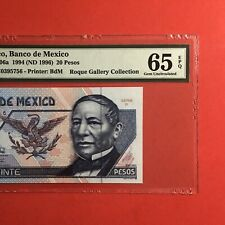 MEXICO- 1994 - 20 PESOS BANKNOTE,GRADED BY PMG GEM UNCIRCULATED 65 EPQ.VERY NICE