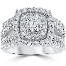Round Cut Diamond Certified 3.40Ct Engagement Trio Ring Set 14K White Gold