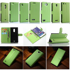 New Green Flip PU Leather Card Slot Case Magnetic Close Stand Cover Book Wallet