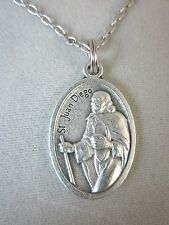 """St Juan Diego /Nuestra Senora de Guadalupe Medal Italy Necklace 20"""" Chain"""