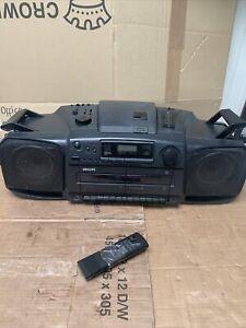 Philips AZ8404/05 TURBO BASS Radio Dual Cassette Tape Boombox See Description