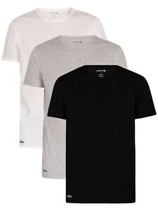 Lacoste Men's 3 Pack Essentials Lounge T-Shirt, Multicoloured
