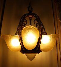 Vintage Deco 5 Panel Slip Shade Ceiling Light Fixture Amber Green Cast Iron
