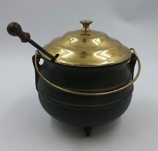 Old Fashioned Cast Iron Smudge Cauldron Witches Pot - Brass Lid & Fire Starter