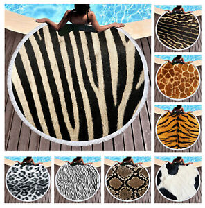 Cool Animal Skin Tiger Leopard Zebra Print Large Beach Towel Blanket Yoga Mat