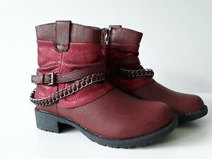 CITYWALK Damen Stiefel Boots Biker Stiefelette Schlangen metallic rot Gr. 36