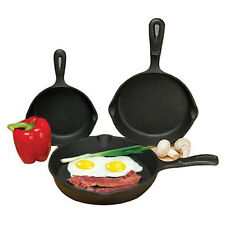 "Cast Iron 3 Piece Skillet Set Nonstick Fry Pans 6""-8""-10"" Cookware Camping Cook"