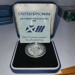 1986  Sterling Silver Proof 2 Pounds - COMMONWEALTH GAMES ,EXCELLENT SCARCE COIN