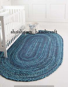 Handmade Natural Cotton Oval Braided Mat Rag Rug Area Rug Carpet 2x3 Feet Decor