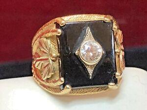 ANTIQUE ESTATE 10K GOLD DIAMOND BLACK ONYX RING  ART DECO  ART NOUVEAU