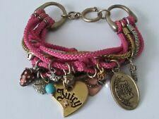 JUICY COUTURE  Multi Strand Pink & Gold Cham Bracelet With Rhinestones