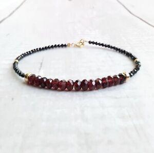 14k Garnet And Black Spinel Gemstone Gold Beaded Bracelet GiFt Women's Jewelry