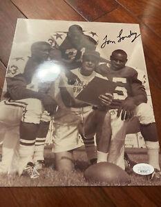 Tom Landry Dallas Cowboys Football HOFer Coach Autographed 8x10 B&W Photo JSA