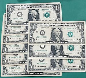 Random Lucky Fancy 000 Serial Number $1 Bill Note Currency! 3+ Consecutive 0's!