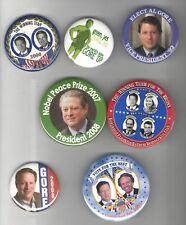 1992 - 2007 7 UNUSUAL Al GORE pin President Vice CAMPAIGN Nobel Prize etc