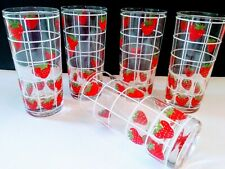 Vintage Rare Culver Signed Strawberry Glasses Tumblers Set (5) 80s - 90s Mint