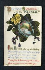 Posted C1918 Birthday Card My Nephew Horseshow Waterfall Rose