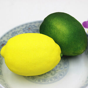 1/2PcLarge Artificial Lemons Vivid Solid Plastic Fruits Yellow Home R fiQE