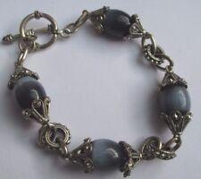 bracelet bijou rétro couleur argent gravé perle de nacre olive  bleu gris *1631