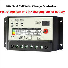 20A 12/24V Dual Battery PWM Solar Charge Controller power supply withLCD display