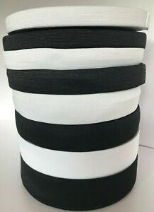 Black   White Elastic Flat woven 10mm 15mm 20mm 25mm 30mm 40mm 50mm, Corded 6mm