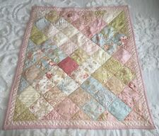 """Shabby Chic Baby Blanket Patchwork Quilt Pink Green Blue Floral Approx 32""""x36.5"""""""