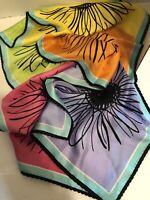 "Talbot Color Block Sunflower Oblong Scarf Black Scallop Crochet Edge 56""X12"""