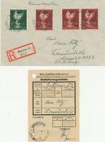 DEUTSCHES REICH 1944 portogerechte Einschreiben-Brief m Goldschmiedekunst-FranK.