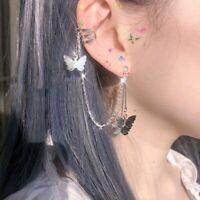 Elegant Women's Butterfly Crystal Ear Hoop Clip Earrings Drop Dangle Jewelry Hot